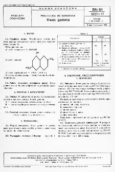 Półprodukty do barwników - Kwas gamma BN-81/6021-17