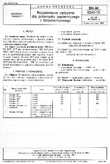 Rozjaśniacze optyczne dla przemysłu papierniczego i fotochemicznego BN-86/6045-15