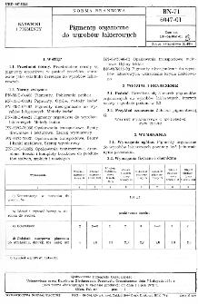 Pigmenty organiczne do wyrobów lakierowych BN-71/6047-01
