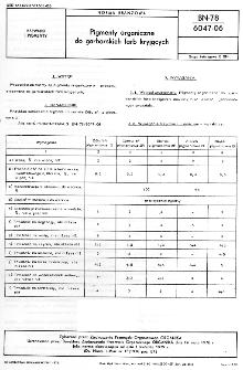 Pigmenty organiczne do garbarskich farb kryjących BN-78/6047-06