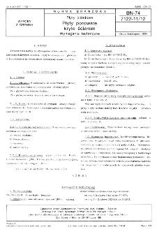 Płyty pilśniowe - Płyty porowate kryte ścierem - Wymagania techniczne BN-74/7122-11/12