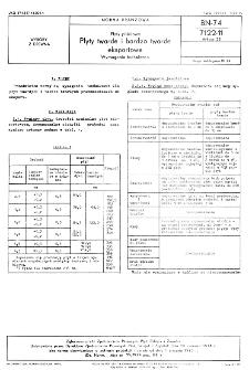 Płyty pilśniowe - Płyty twarde i bardzo twarde eksportowe - Wymagania techniczne BN-74/7122-11 Arkusz 23