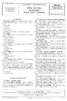 Płyty wiórowe prasowane - Podział, nazwy i określenia BN-80/7123-04.01