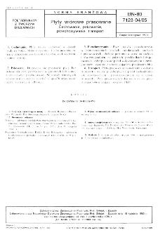 Płyty wiórowe prasowane - Cechowanie, pakowanie, przechowywanie, transport BN-80/7123-04/05