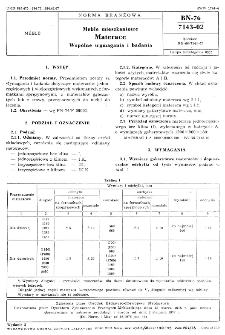 Meble mieszkaniowe - Materace - Wspólne wymagania i badania BN-76/7143-02