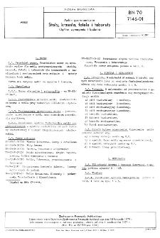 Meble gastronomiczne - Stoły, krzesła, fotele i taborety - Ogólne wymagania i badania BN-70/7146-01