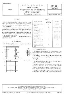 Meble sklepowe - Segmenty do wydzielania stref sprzedaży - Wymagania podstawowe BN-88/7146-27