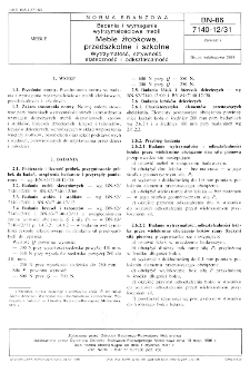 Badania i wymagania wytrzymałościowe mebli - Meble żłobkowe, przedszkolne i szkolne - Wytrzymałość, sztywność, stateczność i odkształcalność BN-86/7140-12/31
