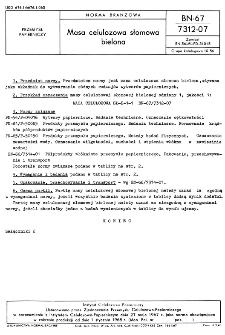 Masa celulozowa słomowa bielona BN-67/7312-07