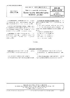 Górnicze zapalniki elektryczne - Systematyka laboratoryjnej kontroli jakości BN-84/6094-43/05