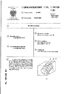 Filtr elektrostatyczny : opis patentowy nr 181129