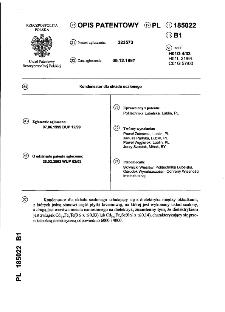 Kondensator dla układu scalonego : opis patentowy nr 185022