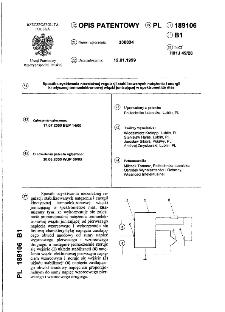 Sposób uzyskiwania niezależnej regulacji stabilizowanych natężenia i energii kinetycznej termoelektronowej wiązki jonizującej w spektrometrze mas : opis patentowy nr 189106