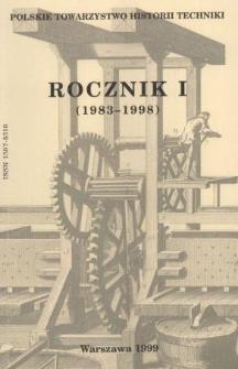 Rocznik / Polskie Towarzystwo Historii Techniki 1 (1983-1998)
