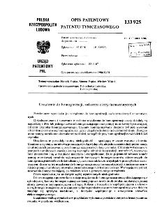 Urządzenie do homogenizacji, zwłaszcza cieczy farmaceutycznych : opis patentowy patentu tymczasowego nr 133925