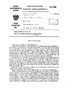 Zamek błyskawiczny : opis patentowy patentu tymczasowego nr 137909