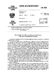Konstrukcja mieszadła z prowadzeniem łożyskowym, zwłaszcza w chłodziarkach do mleka : opis patentowy nr 141820