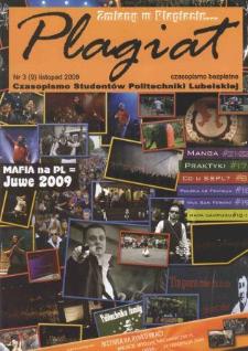 Plagiat : czasopismo Studentów Politechniki Lubelskiej nr 3(9) listopad 2009