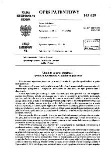Układ do kontroli szczelności i pomiaru podciśnienia w palnikach gazowych : opis patentowy nr 143629