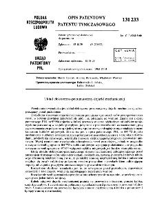Układ elektryczno-pneumatyczny dojarki mechanicznej : opis patentowy patentu tymczasowego nr 131233