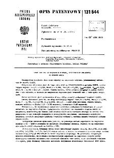 Stop odporny na zmęczenie cieplne, przeznaczony zwłaszcza do wyrobu kokil : opis patentowy nr 131644