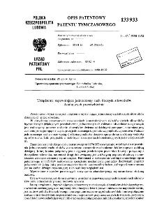 Urządzenie zapewniające jednoczesny ruch tłoczysk siłowników działających przeciwbieżnie : opis patentowy patentu tymczasowego nr 133933