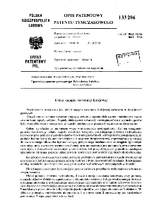 Układ napędu zwrotnicy kolejowej : opis patentowy patentu tymczasowego nr 133296
