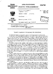 Sposób i urządzenie do kompensacji siły odśrodkowej : opis patentowy patentu tymczasowego nr 134715