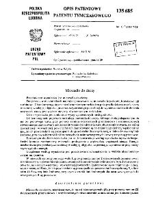 Mieszadło do cieczy : opis patentowy patentu tymczasowego nr 135685