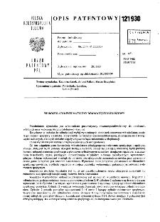 Wibroizolator pneumatyczny równoczęstotliwościowy : opis patentowy nr 121930