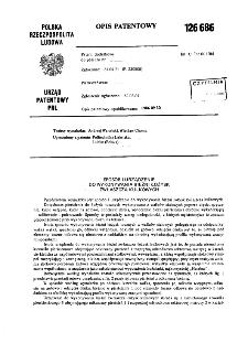 Sposób i urządzenie do wykonywania bieżni łożysk zwłaszcza kulkowych : opis patentowy nr 126686