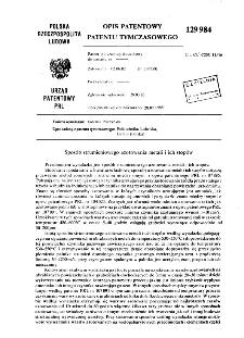 Sposób strumieniowego azotowania metali i ich stopów : opis patentowy patentu tymczasowego nr 129984