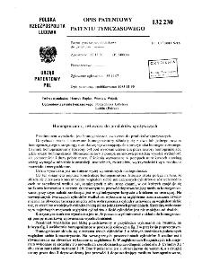 Homogenizator, zwłaszcza do produktów spożywczych : opis patentowy patentu tymczasowego nr 132230