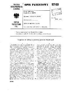 Urządzenie do selekcji wymiarowej pierścieni łożyskowych : opis patentowy nr 127631