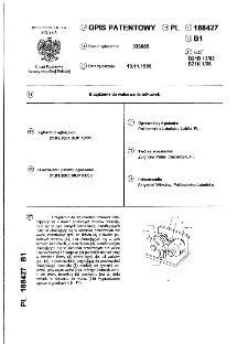 Urządzenie do walcowania odkuwek : opis patentowy nr 188427
