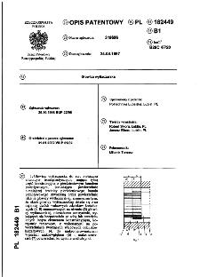 Głowica wytłaczarska : opis patentowy nr 182449