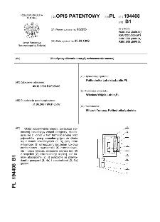 Układ pozyskiwania energii, zwłaszcza słonecznej : opis patentowy nr 194408