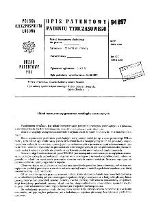 Układ tranzystorowy generatora przebiegów prostokątnych : opis patentowy patenty tymczasowego nr 94897