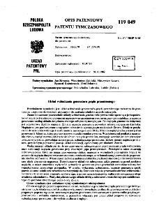 Układ wzbudzania generatora prądu przemiennego : opis patentowy patentu tymczasowego nr 119049