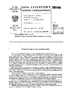 Wzbudnik do podgrzewania rozjazdów kolejowych : opis patentowy patentu tymczasowego nr 120546