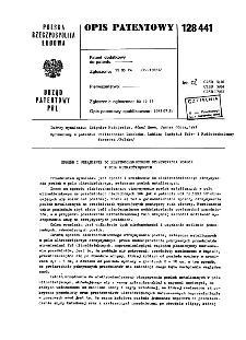 Sposób i urządzenie ndo elektrochemicznego otrzymywania powłok w polu ultradźwiękowym : opis patentowy nr 128441