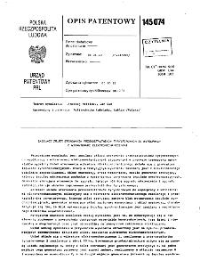 Zasilacz układu sterowania przekształtników tyrystorowych do współpracy z wibratorami elektromechanicznymi : opis patentowy nr 145074