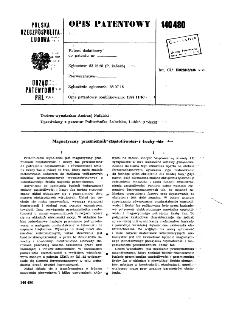 Magnetyczny przemiennik częstotliwości i liczby faz : opis patentowy nr 140480