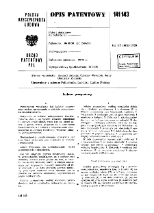 Izolator przepustowy : opis patentowy nr 141143