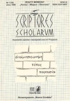 Scriptores Scholarum : kwartalnik uczniów i nauczycieli oraz ich Przyjaciół R. 6, nr 1(18), zima 1998