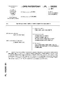 Sposób wytwarzania styków z miedzi do łączników w przyrządach : opis patentowy nr 195285