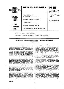 Magnetyczny podwajacz częstotliwości z wejściami i wyjściemtrójfazowym : opis patentowy nr 140478