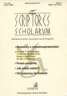 Scriptores Scholarum : kwartalnik uczniów i nauczycieli oraz ich Przyjaciół R. 6, nr 4(21), jesień 1998