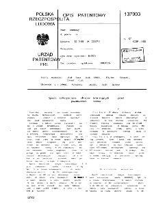 Sposób zabezpieczania obiegów termostatujących przed powstawaniem osadów : opis patentowy nr 137903