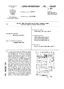 Sposób i układ sterowania parametrami gazu uszczelniającego, zwłaszcza w gazowych łożyskach hybrydowych : opis patentowy nr 194387